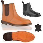 MENS REAL LEATHER SLIP PULL ON CHELSEA DEALER ANKLE GUSSET OFFICE BOOTS SIZE