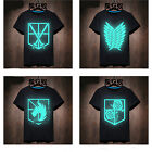 Anime Attack on Titan Men T-shirt Leisure Varnish  Neon Glow in Dark Xmas Gift