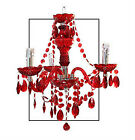 NEW THREE 3 ARM CHANDELIER CEILING LIGHT RED OR SMOKE BLACK PENDANT