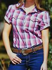 New Wrangler Short Sleeve Western Campdrafting  Shirt  Ruth Pink Purple