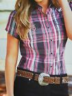 New Wrangler Short Sleeve Western Campdrafting  Shirt Etta Black Pink
