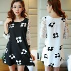 Elegant New Sweet 3/4 Hollow Lace Sleeve Womens Flower Fashion Mini Dress Tops