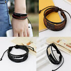 Fashion Retro Multilayer Leather Wristband Bracelet Cuff Bangle Men Women a