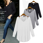 Women Ladies Casual V Neck Cotton Long Sleeve Tops Tee Shirt Blouse Size 8-10-20