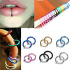 2 PCS Fake Nose Lips Ring Spring Clip Hoop Earring Unisex Goth Piercing Septum