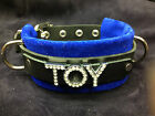 Leather choker collar TOY crystals Choose suede color-any words* OWNED WHIP HOT