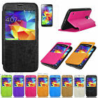 Slim Window Flip Leather Wallet Stand Case Cover For Samsung Galaxy S5 i9600