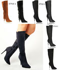 Womens ladies knee high stiletto zip calf winter formal work tassel boots size