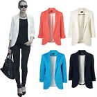 New Ladies Long Sleeve Casual Suit Coat Jacket Slim Fit Blazer TOP Size Candy