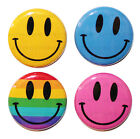 "1"" (25mm) 4 x Smiley Face Button Badge Pins - High Quality - GIFT"