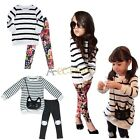Baby Girl Fancy Autumn Outfit Clothes Striped T-shirt Dress+ Pants 2PCS Set Suit