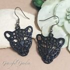 ER2861 Graceful Garden Vintage Style Filigree Leopard Panther Head Earrings