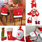 NEW Santa Red Hat Chair Covers Christmas Decor Socks Dinner Chair Xmas Cap Sets