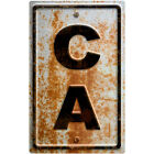 California CA State Abbreviation Rusted Wall Decal Freeway Decor