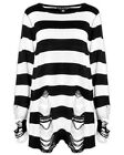 Killstar Pugsley Knit Sweater Top Black White Stripe Goth Baggy Grunge Jumper