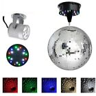 "12"" Mirror Disco Ball DJ Stage Party LED Light Rotating Motor 3W Spotlight Kit"