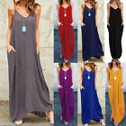 Zanzea AU 8-24 Women Summer Sleeveless Boho Long Maxi Party Beach Dress Sundress