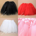 "1x CHILDS GIRLS TRIPLE LAYER NET TUTU SKIRT RED PINK WHITE FITS 16""-32"" WAIST"