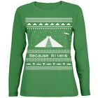 Ancient Aliens Ugly Christmas Sweater Green Womens Long Sleeve T-Shirt