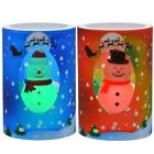 "US Seller 4"" Christmas Snowman  LED Color Changing Pillar Candles 2 Choices"