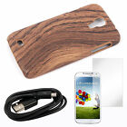 Wood Pattern Case +Bk USB Cable +Screen Film For Samsung Galaxy S4 i9500