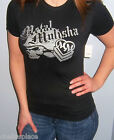New Sexy METAL MULISHA Maidens SPARKLY SILVER SKULL LOGO Top T-Shirt S or M