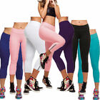 Womens Running Yoga Sports Capri Fitness Gym 3/4 Pants Stretch Cropped Leggings