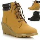 Ladies Womens Lace Up Cleated Sole Wedge Heel Ankle Worker Style Boots Shoes