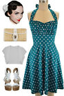 PLUS SIZE 50s Style DEEP TEAL w/White POLKA DOTS Pinup Betty HALTERTOP SunDress