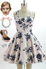 50s Style PaleBLUSH Floral TRAVELING CUPCAKE TRUCK Dress with HALTER Petal Bust