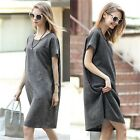 Celeb Ladies Short Sleeve Smock Swing Womens Shift Top Mini Dress Belt Solid
