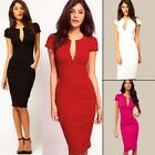 New Sexy Deep V-neck Women's Business Formal Party Wiggle OL Split Pencil Dress