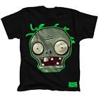 TS0BVNPVZ PLANTS VS. ZOMBIES Zombie Face with Green Neon Highlight T-Shirt Black