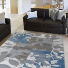 Contemporary Beige-Blue Carpet Petals Boxes Blocks Leaves Geometric Area Rug