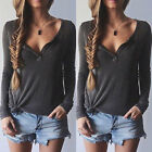 Sexy Women Ladies Casual Loose V Neck Long Sleeve Top Blouse Tee Shirt UK 8-14