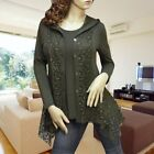 GREEN EYELET LAYER HOODIE LONG SLEEVE CARDIGAN TUNIC TOP 1775 SIZE  L