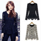 NEW Women Ladies Crochet Floral Lace Blouse Long Sleeve Peplum Shirt Slim Tops