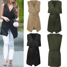 New Womens Ladies Celebrity Sleeveless Waterfall Cape Cardigan Jacket Coat Top