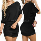 Sexy Women Short Sleeve Bodycon Oblique One Shoulder Cocktail Party Club Dress