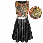 NEW WOMENS LADIES FLORAL TOP BLACK PU SKATER DRESS MESH LEATHER LOOK SKIRTS