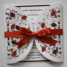 Wedding Invitation & Inserts : AUTUMN LEAVES semi circle gatefold; 60 colours
