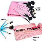 5/24 Pcs Soft Cosmetic Eyebrow Shadow Makeup Brush Set Kit Pouch Case US Stock
