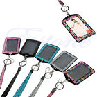 New Resin Crytal Bling Retractable ID Badge Photo Neck Lanyard Key Chain Holder