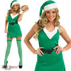 FANCY DRESS COSTUME LADIES GREEN CHRISTMAS FLIRTY ELF SIZES 8-18