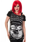 Banned Ouija Skull Cut Out T Shirt Top Womens Tee Black Goth Punk Occult