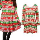 Christmas party Long Sleeve Red Contrast Color Print Mini Flared Swing Dress