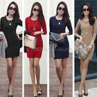 Women Girls Long Sleeve Crew Neck Sexy Bodycon Party Cocktail Mini Dress S-XXL