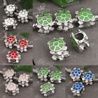 5x Enamel Turtle Tortoise Big Hole European Charm Bead Fit Snake Chain Bracelet