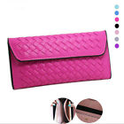 Fashion Women Wallet Solid Leather Woven Long Portable Wallets Handbag Purse