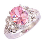Wedding Gifts Oval Cut Pink Topaz Gemstones Silver Jewelry Ring Size 6 7 8 9 10